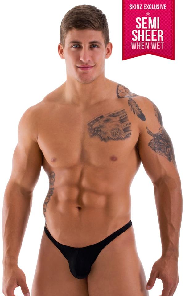 mens semi sheer black thong bikini