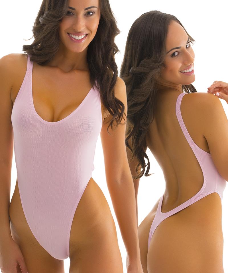 Women's one piece swimsuits high cut low back bikini